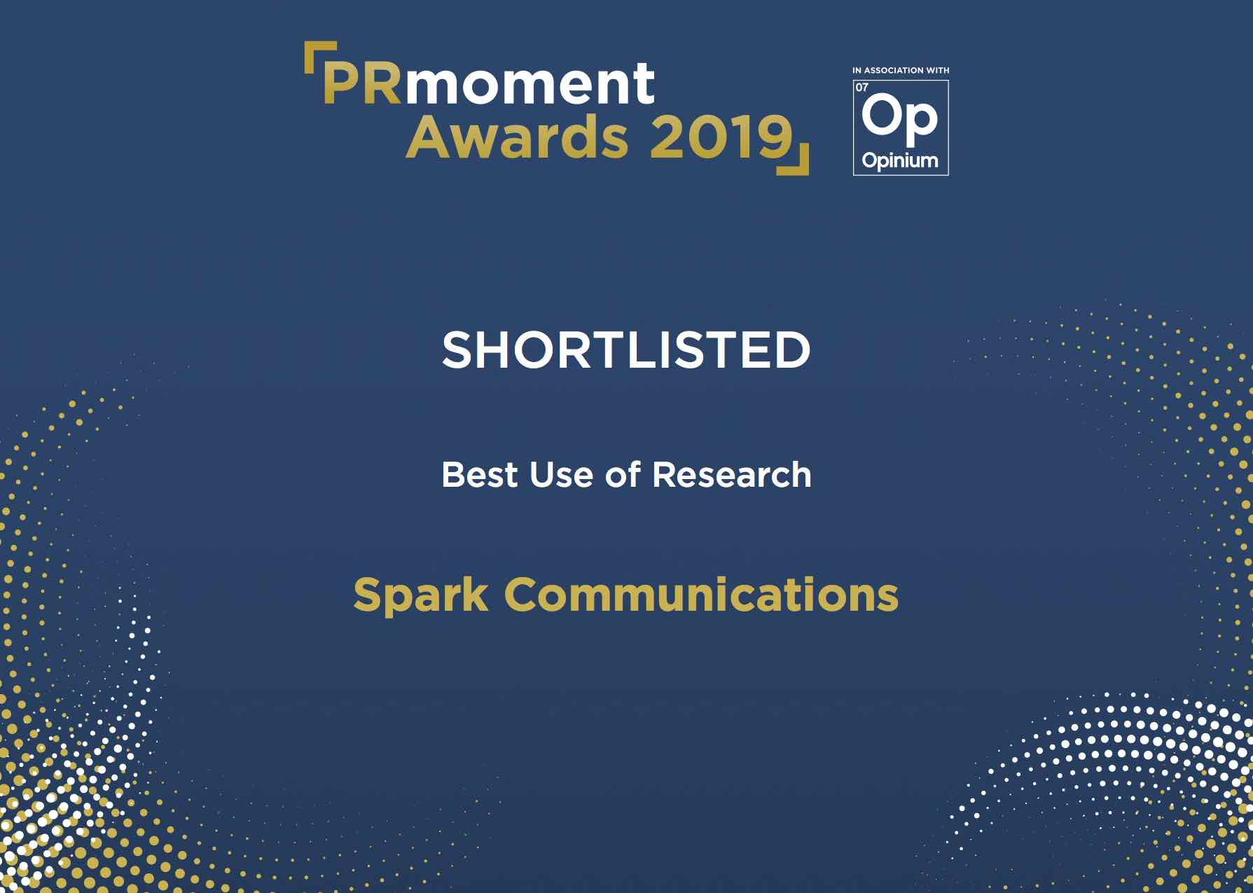 Shortlisted in the PRmoment Awards 2019